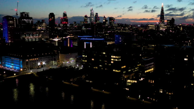 aerial flying over the waterloo area in the city of london uk, sunrise - sunrise dawn stock videos & royalty-free footage