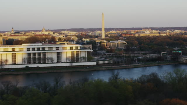 aerial flying over theodore roosevelt past the john f. kennedy center for the performing arts  - performing arts center stock videos & royalty-free footage