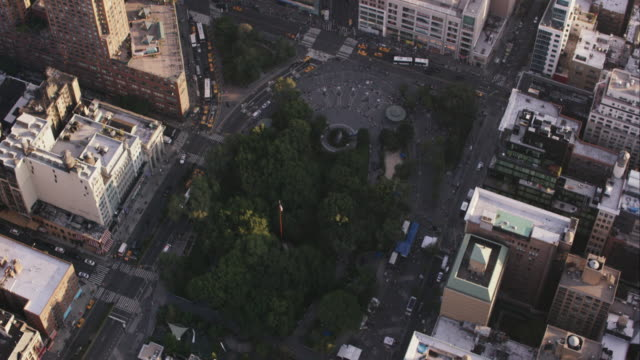 aerial flying over union square park in manhattan nyc - union square new york city stock videos and b-roll footage