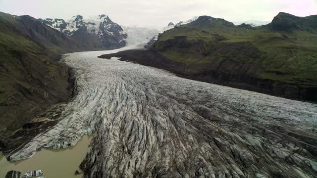 Aerial flying over Vatnajokull Glacier in Iceland
