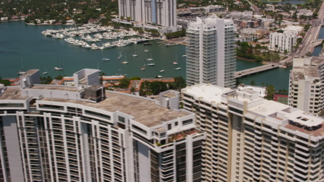 Aerial flying over Venetian Islands, South Beach Miami FL