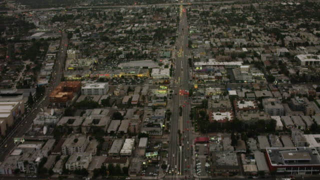 aerial flying over venice blvd in los angeles ca, rush hour - santa monica blvd stock videos & royalty-free footage