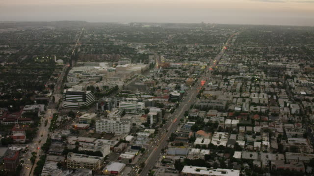 aerial flying over venice blvd in los angeles ca, rush hour - santa monica stock videos and b-roll footage