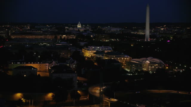 aerial flying over washington dc wide view, night - washington monument washington dc stock videos & royalty-free footage