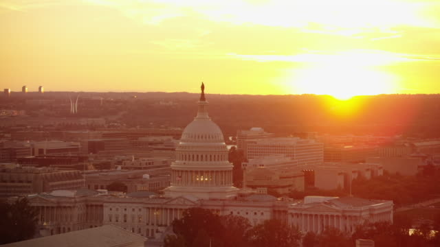 aerial flying over washington dc wide view of united states capitol usa - washington monument washington dc stock videos & royalty-free footage