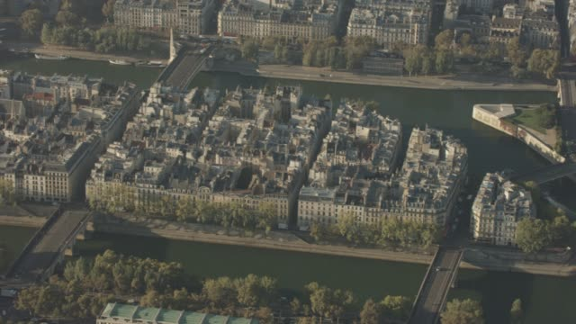 aerial flying past île saint-louis and ile de la cité in paris france, morning - セーヌ川点の映像素材/bロール