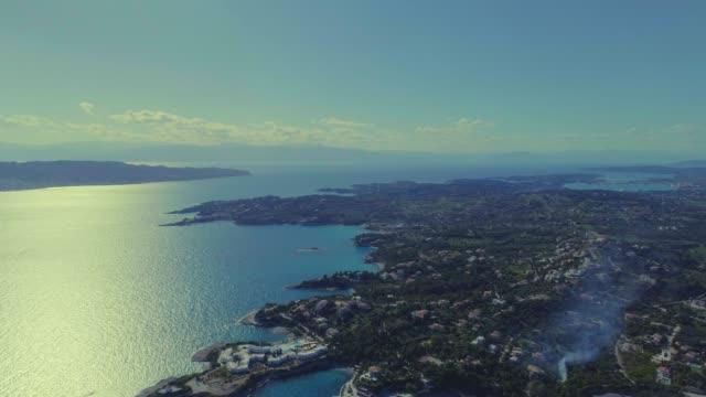 Aerial - flying straight forward above Porto Heli at dusk - Porto Cheli - Greece - Argolis - Argolida