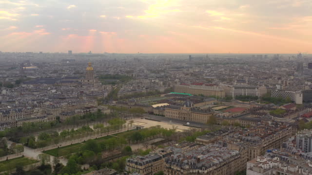 aerial flying towards école militaire in paris, france at sunrise - offiziersschule école militaire stock-videos und b-roll-filmmaterial