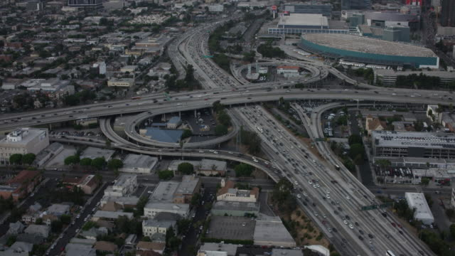 Aerial flying towards Downtown Las Angeles, CA afternoon