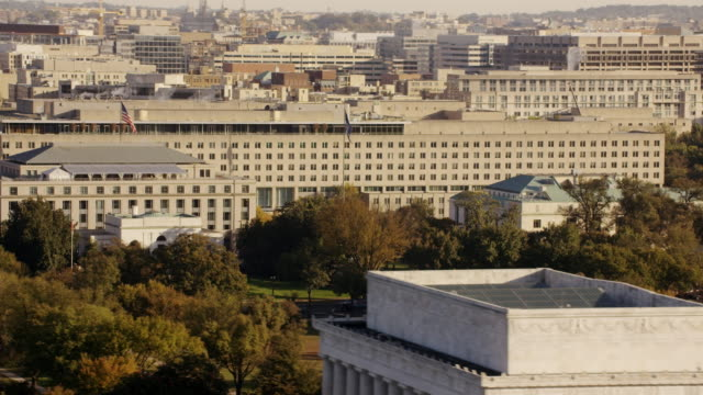 aerial flying towards harry s. truman building, washington dc daytime - harry truman stock videos and b-roll footage