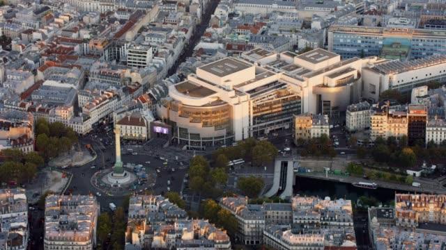 Aerial flying towards La Bastille and Opéra Bastille in Paris France, sunset