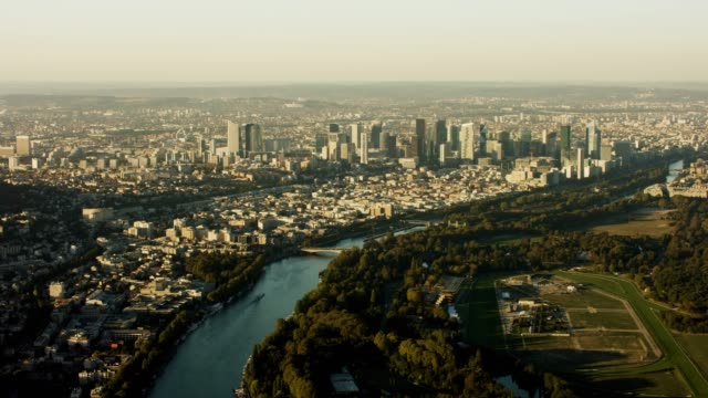 aerial flying towards la defense paris france - river seine stock videos & royalty-free footage