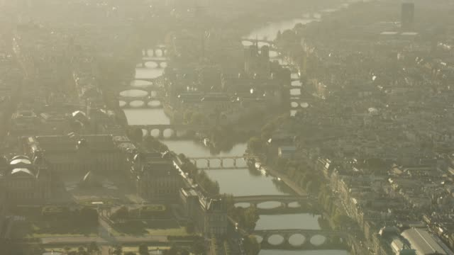 aerial flying towards île saint-louis in paris france, morning - river seine stock videos & royalty-free footage