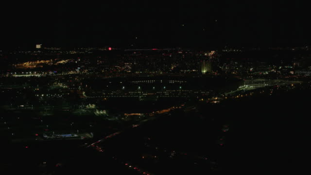 Aerial flying towards The Pentagon, night Washington DC