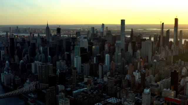 aerial flyover of new york skyline at night - manhattan stock videos & royalty-free footage