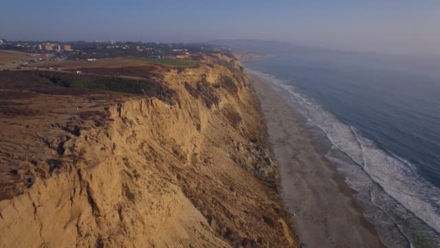 Aerial Flyover of the Cliffs at Torrey Pines in La Jolla/San Diego California