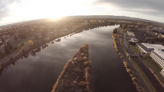 aerial flyover snake river idaho falls - mormon temple stock videos and b-roll footage