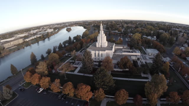 aerial flyover snake river idaho falls - mormonism stock videos & royalty-free footage