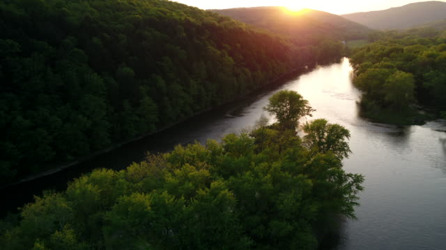 aerial flyover view of river near lush forest at sunset / susquehanna, pennsylvania, united states - harmony stock videos & royalty-free footage