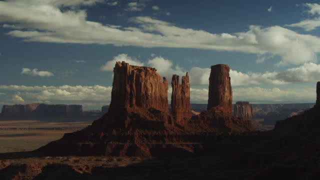 aerial flyover view of scenic view of rock formations in valley / monument valley, utah, united states - monument valley stock videos & royalty-free footage