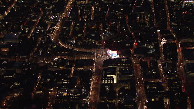 Aerial focusing on Piccadilly Circus and Regent Street