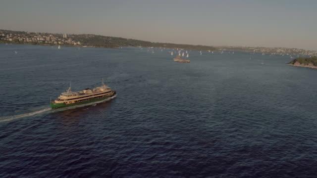 aerial follow of a ferry on sydney harbour. sydney australia - フェリー船点の映像素材/bロール