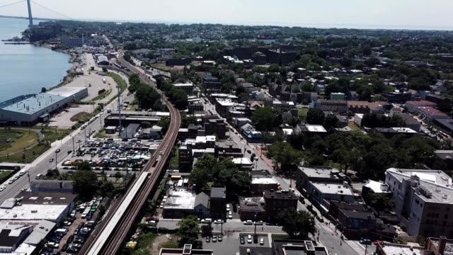 aerial footage above stapleton in staten island new york - stapleton stock videos & royalty-free footage