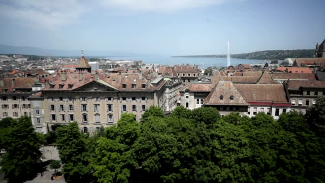 aerial footage above the old town of geneva, switzerland - old town stock videos & royalty-free footage