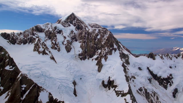 Aerial Footage Aoraki Mt Cook New Zealand highest mountain Glacier