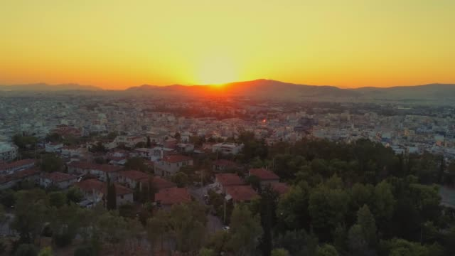 Aerial footage - Athens - Greece - View of Athens from the hill of Filopappou at sunset