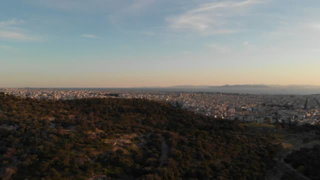 Aerial footage - Athens - Greece - view of the Athens waterfront from a hill close to Acropolis