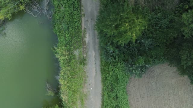 aerial footage - birds eye view - flying forwards over a dirt road next to a river