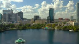 Aerial footage Downtown Orlando FL Lake Eola Heights