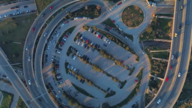 Aerial footage -  Drone - flying over a traffic hub in south Athens, Faliro, Greece