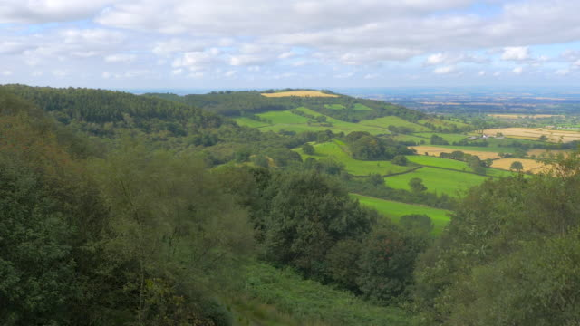 Aerial footage from drone flying over Yorkshire Moors, UK