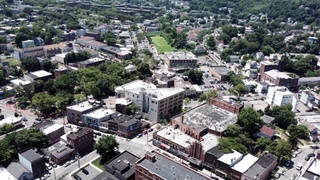 aerial footage of a building corner stapleton in staten island, new york - stapleton stock videos & royalty-free footage