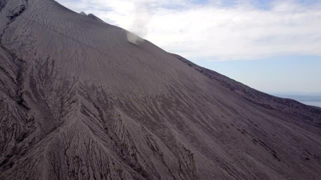 Aerial footage of a dust devil swirling across barren flank of Sakurajima volcano in Japan