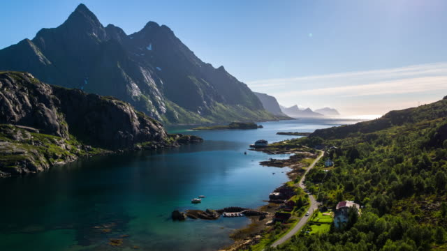 Aerial footage of a fjord at the Lofoten Islands in Norway