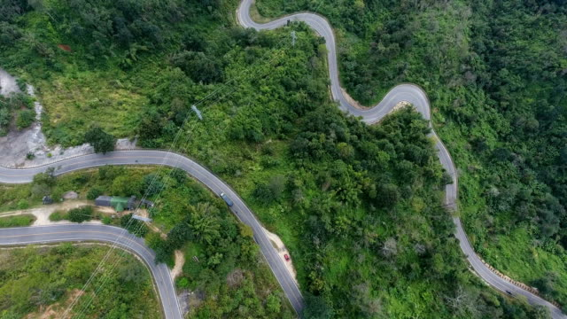 UHD, Aerial footage of a mountain road.