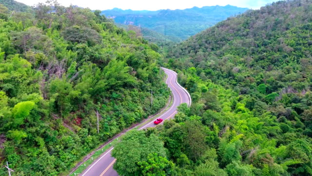 Aerial footage of a mountain road