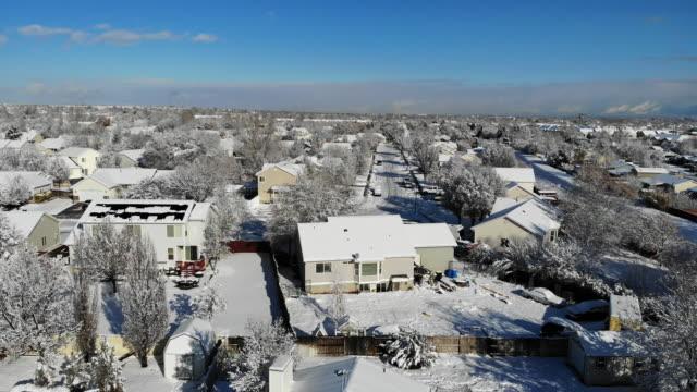 aerial footage of a salt lake city utah neighborhood on a sunny winter day - western usa stock videos & royalty-free footage