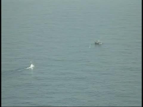 aerial footage of a u.s. coast guard ship sailing towards a japanese ghost ship that was set adrift after the 2011 tsunami. - sport点の映像素材/bロール