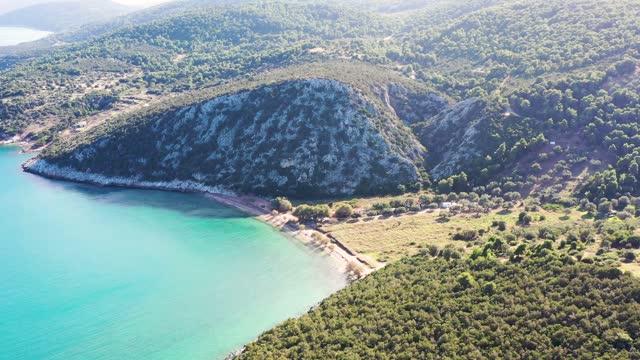 vidéos et rushes de aerial footage of aegean sea coastline - grèce