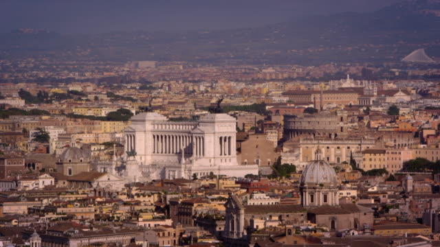 aerial footage of altare della patria and rooftops of rome - altare della patria stock videos and b-roll footage