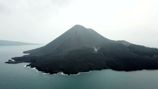 Aerial footage of Anak Krakatau volcano in Indonesia