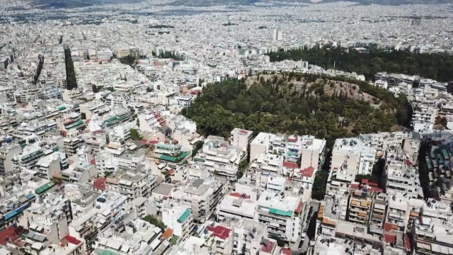 aerial footage of apartment buildings in athens, greece - lycabettus hill stock videos & royalty-free footage