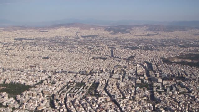 stockvideo's en b-roll-footage met aerial footage of athens greece on thursday june 25 2015 - athene griekenland