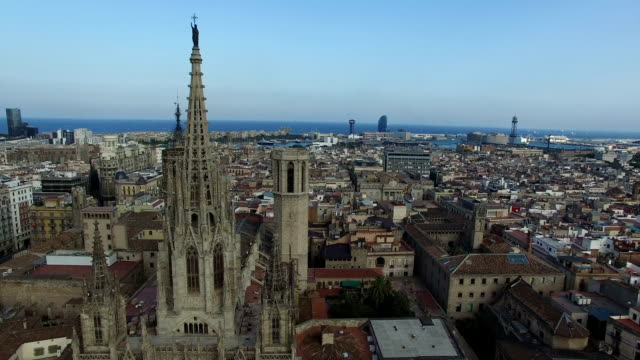 Aerial Footage of Barcelona Cathedral and the City of Barcelona, Spain