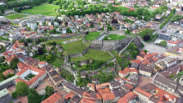 aerial footage of bellinzona old town in switzerland - switzerland stock videos & royalty-free footage