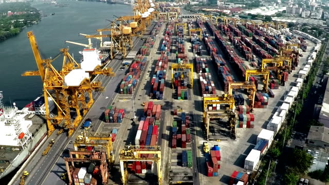 Aerial footage of Cargo Seaport